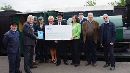 Mid Suffolk Light Railway is receiving �5,000 from the Suffolk Community Foundation. Left to right (