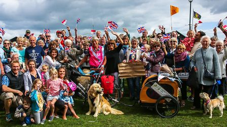 Maggie Scorer celebrates with family and friends outside the Wentworth Hotel, Aldeburgh. Picture: St