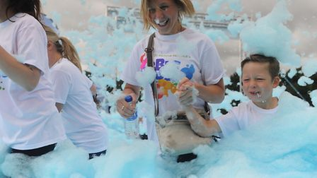 Bubble Rush charity 5k in aid of St Helena Hospice in High Woods Park, Colchester