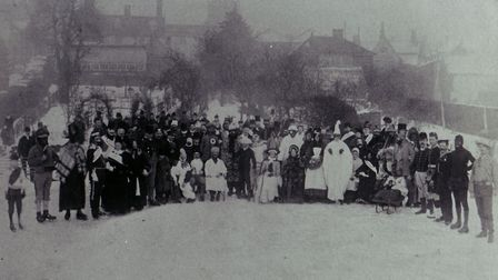 Lots of people turned out in fancy dress on 10 January 1891 to ice-skate on Diss Mere. Picture: Arch