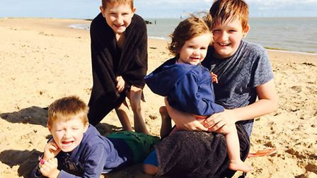 Seth, Finley, Mila and Mitchell on the beach during the summer holidays