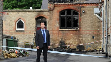 The scene of a fire at Exning Primary School. Headteacher, James Clark.