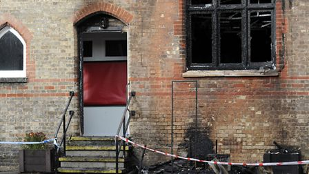 The scene of a fire at Exning Primary School.