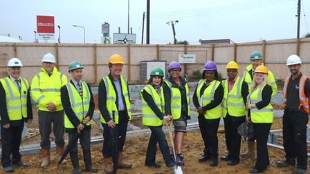 Work begins on new homeless housing scheme for families in Rayne Road, Braintree. Pictured L-R: Guy