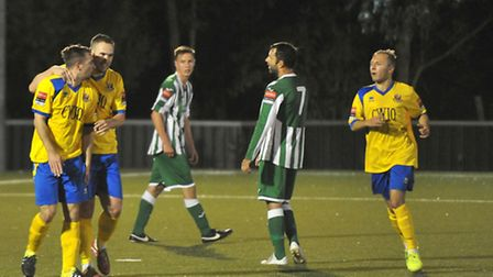 Craig Parker is congratulated after scoring the first of his hat-trick