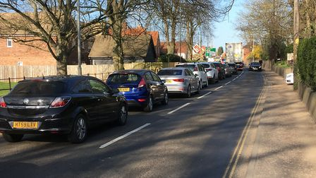 Traffic delays on Park Road in Diss where work on footpaths has led to traffic lights on the busy ro