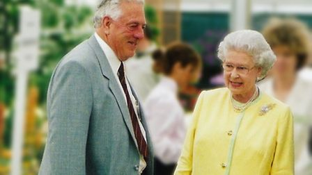 Charles Notcutt and The Queen at the Chelsea Flower Show 2002