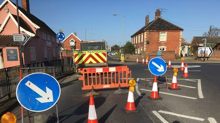 Work on footpaths has led to traffic lights on the busy roundabout junction between Park Road, Stanl