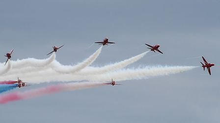 The Red Arrows thrill the crowds at the Clacton Air Show.