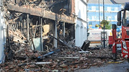 Emergency services at the scene of a fire in Sudbury town centre.