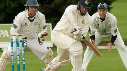 Justin Bishop batting against Frinton last Saturday, in his final home match. Frinton wicketkeeper C