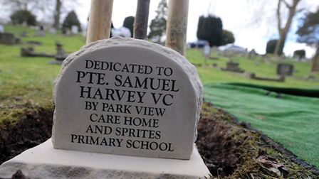 A memorial to Samuel Harvey VC in Ipswich Old Cemetery