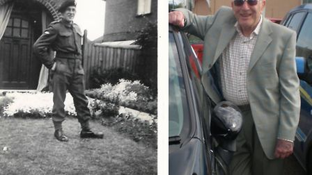 John Gammer, who has died at the age of 94. Also pictured after he joined the army at the begining o