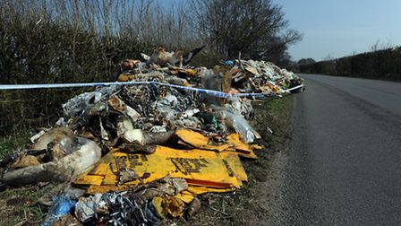 Fly tipping on the side of the road in Finningham Road between Walsham le Willows and Finningham.