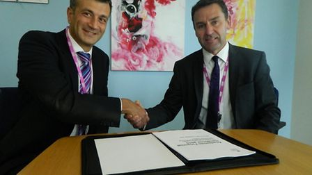 Nikos Savvas and Alan Whittaker of West Suffolk College and One sixth form