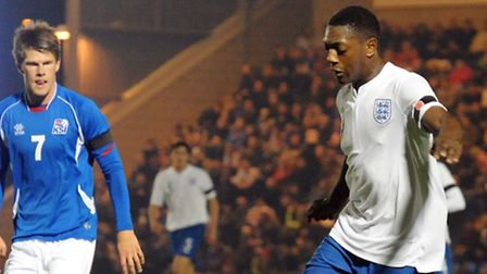 U's new signing Marvin Sordell, in action for England Under-21s against Iceland at the Community Sta