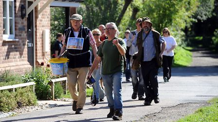Charlie Haylock arrives at the Eden Rose Coppice in Sudbury as part of his walk.