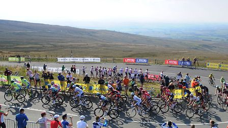 The tour of Britain makes its final climb to the finish up Hartside during Stage Five. PA Photo: Owe