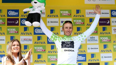 One Pro Cycling's Peter Williams celebrates taking the Skoda King of The Mountains jersey after Stag