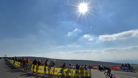 Team Sky's Wout Poels climbs up Hartside pass on his way to victory during Stage Five of the Tour o