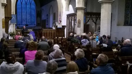 The public meeting at the church of St Mary in Combs on Monday.