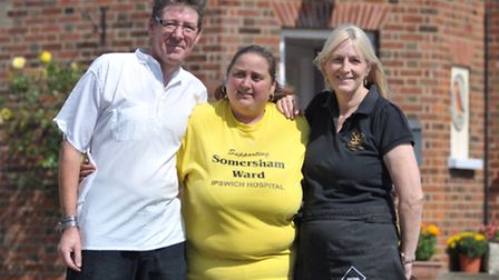 Funday at the Butchers Arms in Knodishall in aid of the Somersham Ward at Ipswich Hospital. L-R Davi