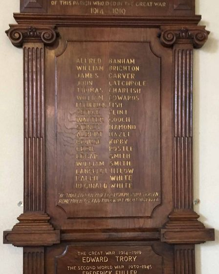 The restored Newton Flotman war memorial that now includes the name of Edward Trory who was killed i