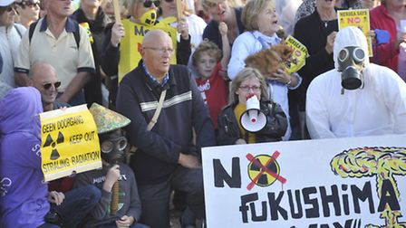 Protesters gathered on the beach in Mersea Island to campaign against Bradwell Nuclear Power Station