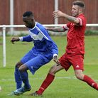Cornard United (in blue) took on Stowmarket in the Suffolk Senior Cup.