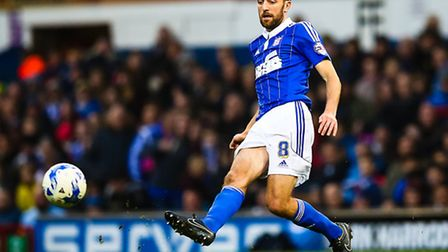 Cole Skuse fires in the ball during the Ipswich Town v Huddersfield Town (Championship) match at Po
