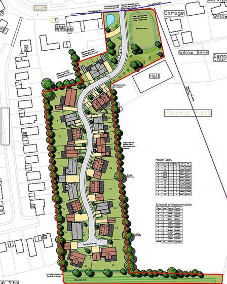 Submitted plans for the lay-out of 23 new homes proposed for land in Hempnall. Picture: FW Propertie
