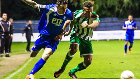 Bury Town's Sam Reed, left, scored against Cray Wanderers.