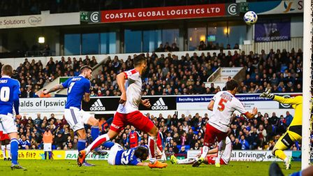 Jonathan Douglas is on the floor as Daryl Murphy's effort is heading over the bar during the second