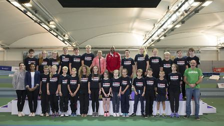 Stowupland High School staff and students with Jessica Ennis-Hill and Darren Campbell at the Sky Aca