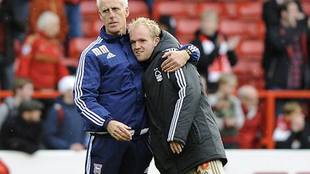 Mick McCarthy gives former Ipswich loanee Jonny Williams a hug at the end of the game at The City Gr