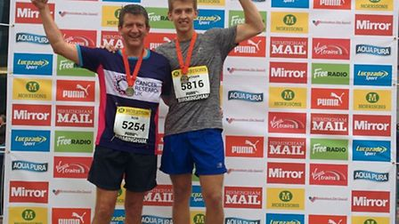NFU environment adviser Rob Wise with son Jonny after completing the Birmingham Morrisons Great Run