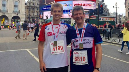 NFU environment adviser Rob Wise with son Jonny after completing the London Vitality 10k in July.