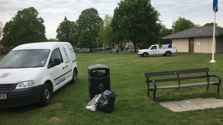 Travellers caravans had been on Diss Park since May 2. Picture: Simon Parkin