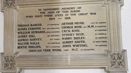 James Gill is honoured on the war memorial in Drinkstone Church.