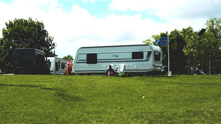 Travellers caravans have been on Diss Park since May 2. Picture: Simon Parkin