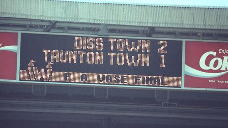Score board of the Diss Town FA Vase Cup win against Taunton at Wembley, 7 May 1994. Photo: Archant