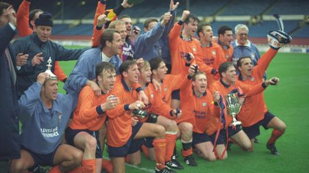 Celebrations of the Diss Town FA Vase Cup win against Taunton at Wembley, 7 May 1994 . Photo: Archan