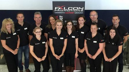 The Falcon Promotions team at the company's annual promotional merchandise exhibition.