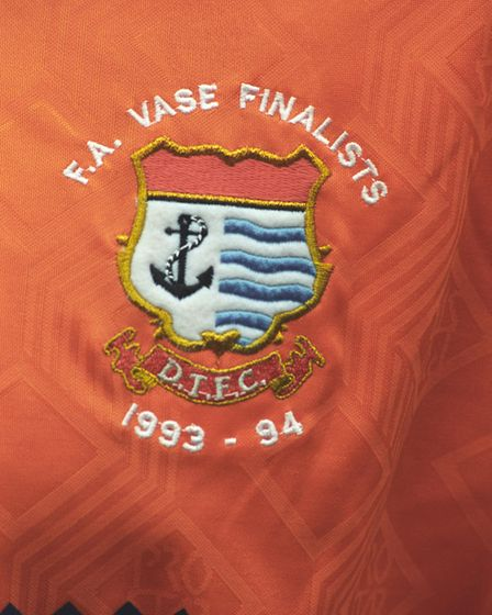 Football shirt worn by Diss Town when they won the FA Vase Cup win against Taunton at Wembley, 7 May