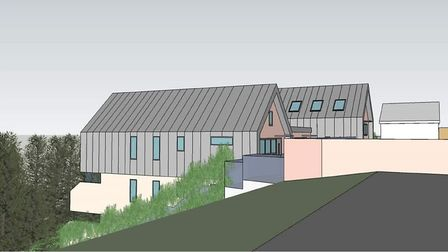 Artist impression of the flats planned next to Diss Mere submitted with the original planning apppli