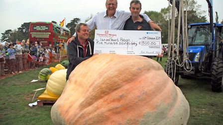 Pumpkin weigh-in at the Autumn Pumpkin Festival, sponsored by Thompson & Morgan: Ian and Stuart Pato