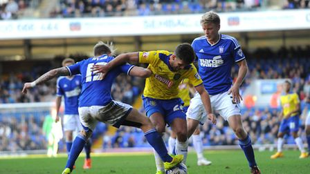 Ipswich Town v Huddersfield Town. Sky Bet Championship. Luke Hyam and Jonathan Parr in action for