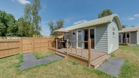 Shepherds cabins at Banham that are appealing to families on glamping holidays. Picture: Applewood C