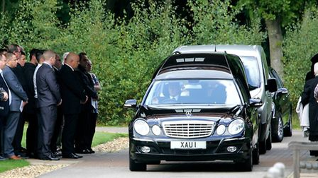 The funeral procession for Philip Heathcote arrives at the Seven Hills Crematorium in Nacton with mo