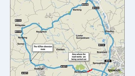 Motorists were sent on a diversion nearly 30miles (47.7km) long